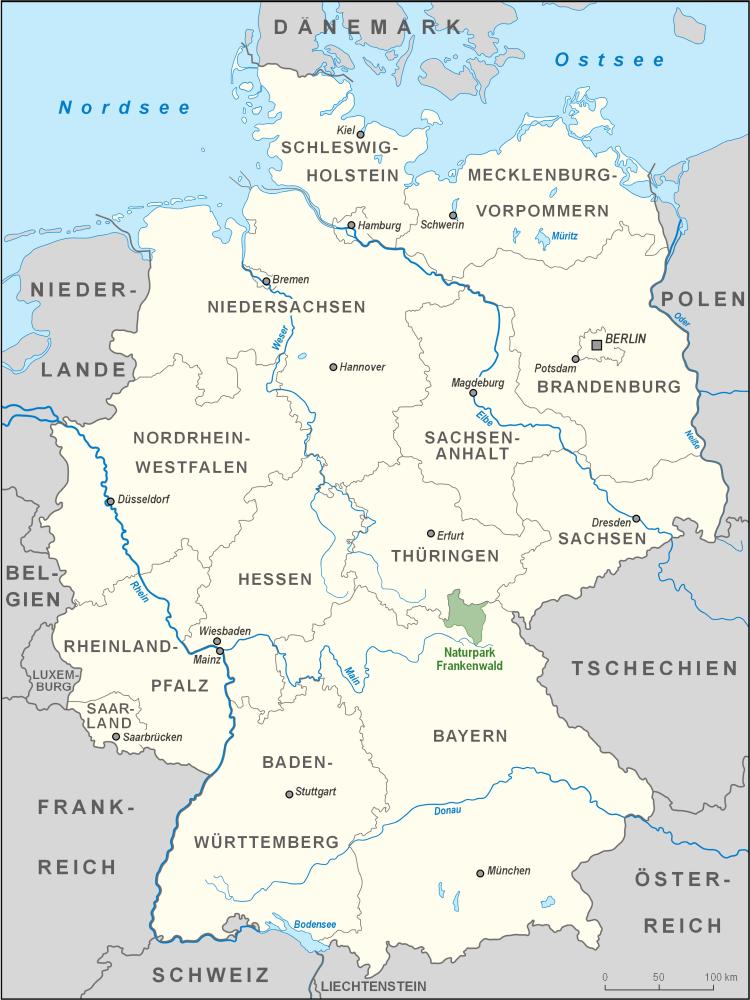 Lage des Naturparks Frankenwald